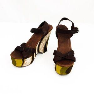 Miu Miu Platform Wedge Sandals Leather 9.5 M